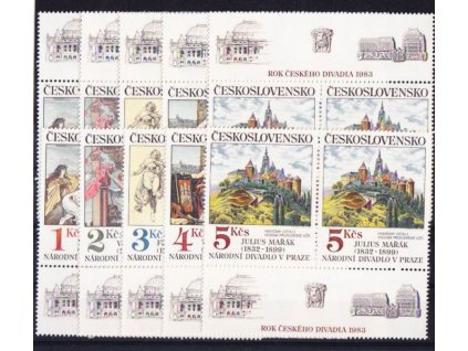 1983, 1-5Kčs Umění, horní a dolní kupony, Nr.K2616-20, **