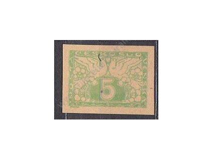 5h zelená, ZT na nahnědlém papíru, Nr.S2, bez lepu