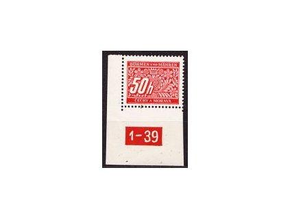 50h červená, roh. kus s DČ 1-39, varianta Y, Nr.DL6, **