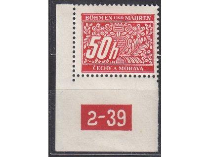 50h červená, levý roh. kus s DČ 2-39, varianta Y, Nr.DL6, **