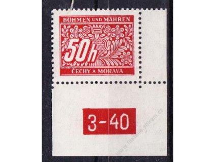 50h červená, pravý roh. kus s DČ 3-40, varianta X, Nr.DL6, **