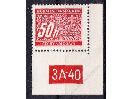 50h červená, pravý roh. kus s DČ 3A-40, varianta Y, Nr.DL6, **