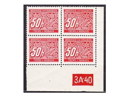 50h červená, pravý roh.4blok s DČ 3A-40, varianta Y, Nr.DL6, **