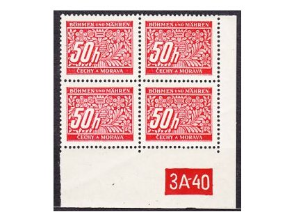 A-50h červená, pravý roh.4blok s DČ 3A-40, varianta Y, Nr.DL6, **
