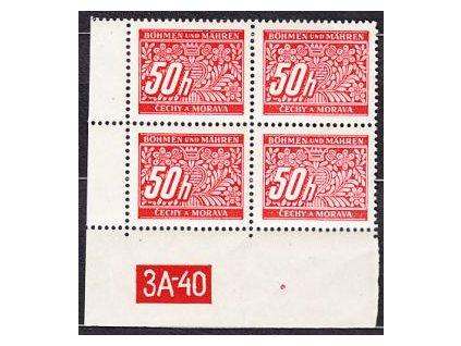 50h červená, levý roh.4blok s DČ 3A-40, varianta X, Nr.DL6, **