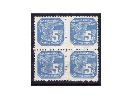 1939, 5h modrá, 4blok, Řz.11 1/2, Nr.NV2, **