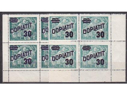 1926, 30h zelená, 2 kusy rohových 4bloků - odstíny barev, Nr.DL42, **/*