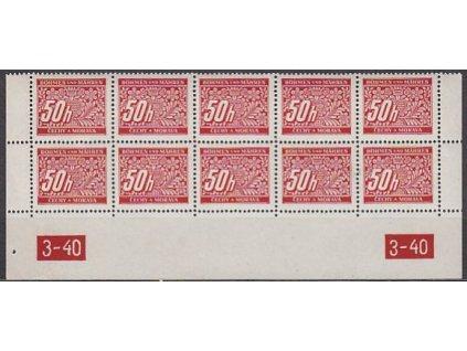 1939, 50h červená, 10blok s DČ 3-30, X,X, **