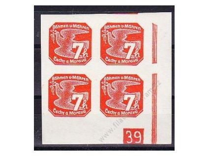 7h oranžová, roh. 4blok s DČ 39 - protikus k DČ 1, Nr.NV3, **