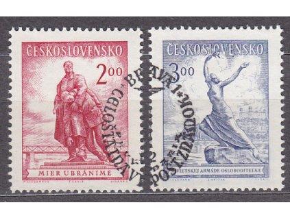 1952, 2-3Kčs Bratislava, známky z aršíku, razítkované, Nr.691-2