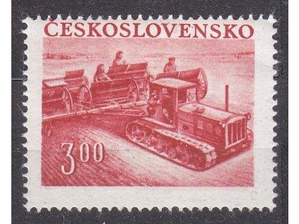1952, 3Kčs Traktor, lehký posun perforace, katalog Pofis Nr.650, **