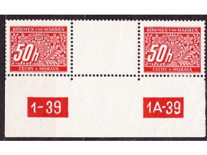 50h červená, 2známkové meziarší s DČ 1-39 1A-39, **