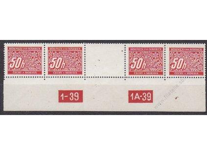 50h červená, 4známkové meziarší s DČ 1-39-1A-39