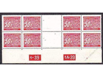 50h červená, 4známkové meziarší s DČ 1-39-1A-39, Nr.DL6, **, dv