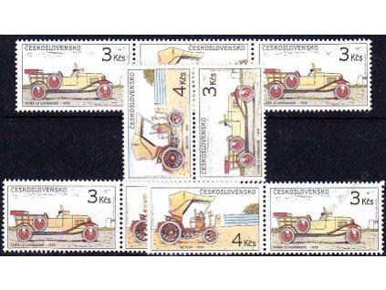 1988, 3-4Kčs Historické automobily, sestava spojek známek ze sešitku, Nr.2834-5, **