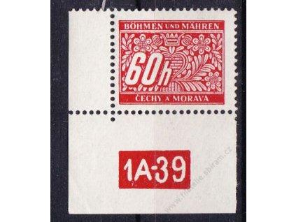 60h červená, levý roh. kus s DČ 1A-39, varianta X, Nr.DL7, **