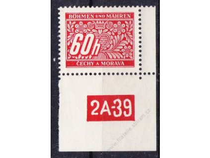 60h červená, pravý roh. kus s DČ 2A-39, varianta X, Nr.DL7, **