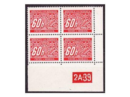 A-60h červená, roh. 4blok s DČ2A-39, varianta X, Nr.DL7, **