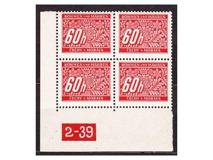 60h červená, roh. 4blok s DČ2-39, varianta Y, Nr.DL7, **