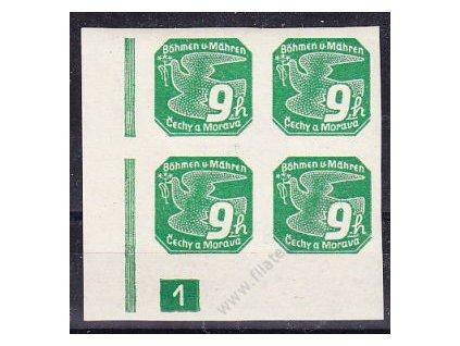 9h zelená, roh. 4blok s DČ 1, Nr.NV4, **