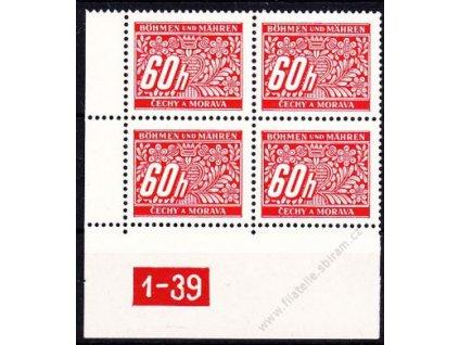 60h červená, levý roh. 4blok s DČ 1-39, varianta X