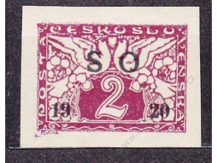 2h fialová, černý přetisk, Nr.SO26a, * po nálepce