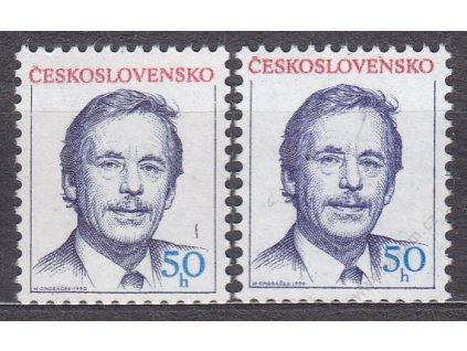 1990, 50h Havel, 2 ks - odstíny, Nr.2928, **