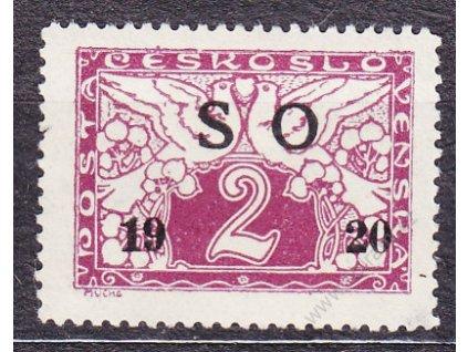 2h fialová, černý přetisk, ministr. Řz.13 3/4, Nr.SO26a, * po nálepce