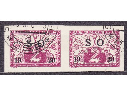 2h Spěšná, černý přetisk, vodorovná 2páska, Nr.SO26a, razítkované