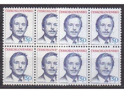 1990, 50h Havel, 2 ks 4bloků - odstíny modré, Nr.2928, **