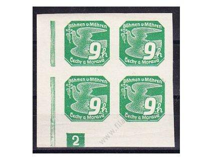 9h zelená, roh. 4blok s DČ 2, Nr.NV4, **