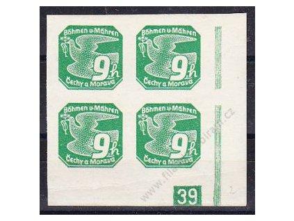 9h zelená, roh. 4blok s DČ 39 - protikus k DČ 2, Nr.NV4, **