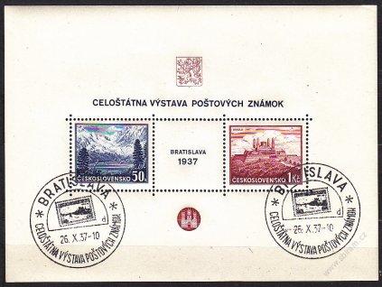 1937, aršík Bratislava, 2 pamětní razítka BRATISLAVA 26.X.37 písmeno D, Nr.A329/330
