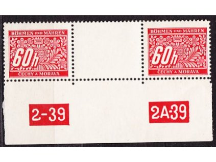 A-60h červená, 2známkové meziarší s DČ 2-39 2A-39, Nr.DL7, **