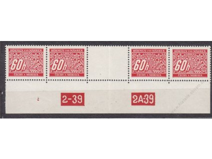 60h červená, 4známkové meziarší s DČ 2-39 2A-39