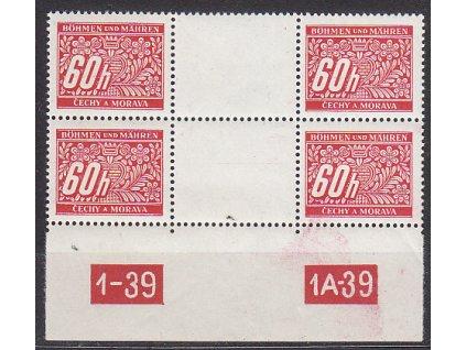 60h červená, 2páska meziarší s DČ 1-39 1A-39, Nr.DL7, **