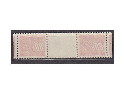 80h červená, meziarší, lehký obtisk, Nr.DL8, stopa po nálepce na líci, známky **