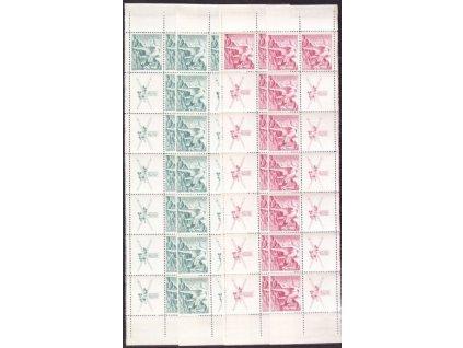 1938, 50h-1Kč Sokolské hry, svislé pásy s kupony, L + P, Nr.331-2, **