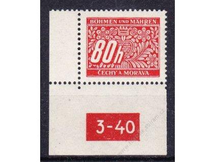 80h červená, levý roh. kus s DČ 3-40, varianta X, Nr.DL8, **