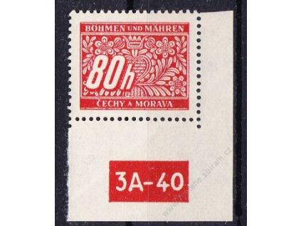 80h červená, pravý roh. kus s DČ 3A-40, varianta Y, Nr.DL8, **