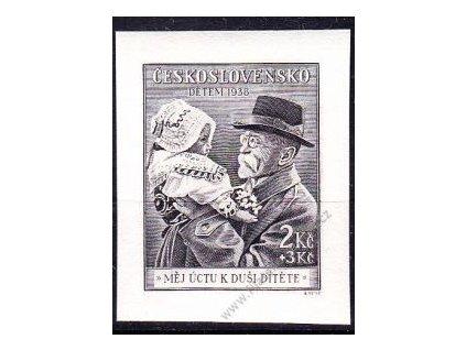 1938, 2Kč černá, známka z aršíku, Nr.335, **