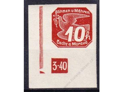 10h červená, roh. kus s DČ 3-40, zakončení trojúhelník, Nr.NV5, **