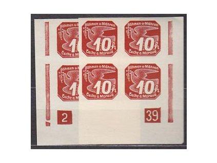 1939, 10h červená, 2 roh. 4bloky s DČ 2-39, **