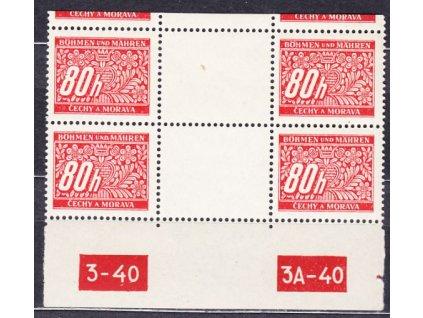 80h červená, 2meziarší s DČ 3-40 3A-40, Nr.DL8, **