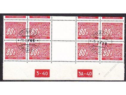 80h červená, 4známkové meziarší s DČ 3-40 3A-40, horní okraj, Nr.DL8, razítkované, ilustračn