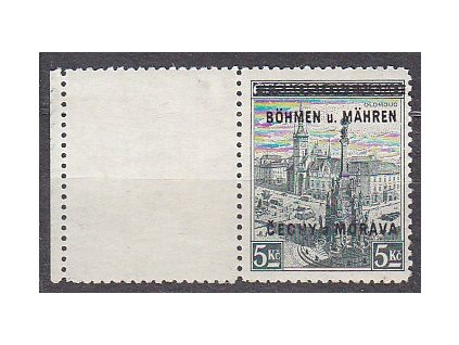 5Kč Olomouc, levý kupon, Nr.18, **, lehce narezlé na rubu