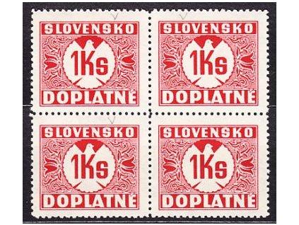 1940, 1Ks červená, průsvitka, 4blok, Nr.D.20, **