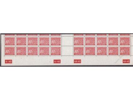 80h červená, spodní 20pás s DČ 4-40-4A-40, varianta y-x, Nr.DL8, **