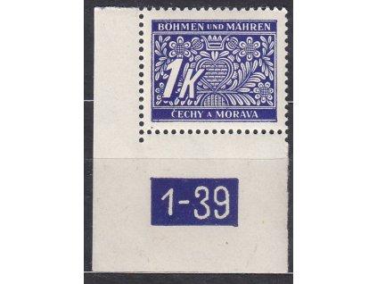 1K modrá, levý roh. kus s DČ 1-39, varianta Y, Nr.DL9, **