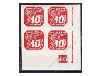 10h červená, pravý roh. 4blok s DČ 4-40, Nr.5, **